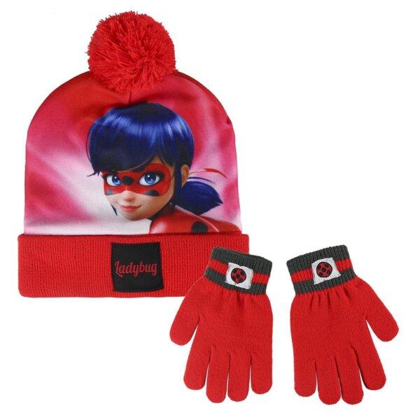 Детска шапка с пискюл и ръкавици LADY BUG (2557)