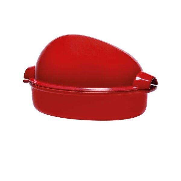 Керамична форма (ростер) за печене на пиле EMILE HENRY CHICKEN ROASTER - 35.5 х 24 см (2.5 л) - цвят червен