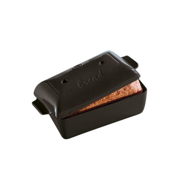 Керамична правоъгълна форма за печене на хляб EMILE HENRY BREAD LOAF BAKER малка - 28 х 13 х h12 см - цвят черен