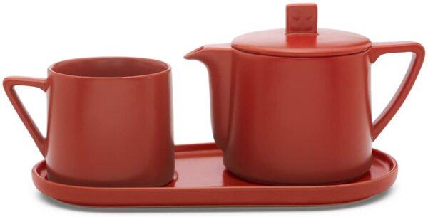 Керамичен сет за чай BREDEMEIJER LUND от 3 части -  цвят червен