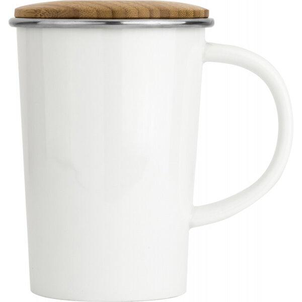 Порцеланова чаша за чай BREDEMEIJER с филтър и бамбуков капак - 400 мл
