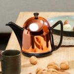 "BREDEMEIJER Стоманен чайник ""Cosy® Manto"" - 1л - цвят черен / меден"