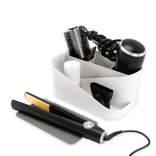 Органайзер за аксесоари за коса UMBRA GLAM с топлоустойчива подложка - цвят бяло и сиво