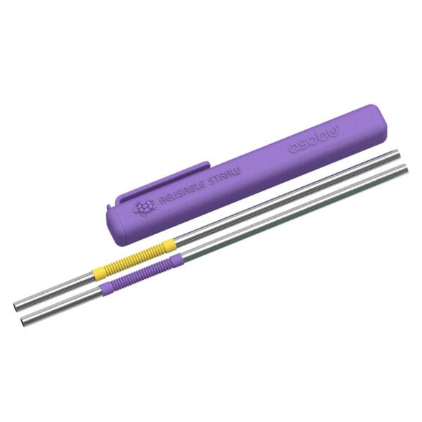 Сламки за многократна употреба ASOBU ЕCO FRIENDLY REUSABLE STRAWS PS2 - цвят лилаво и жълто