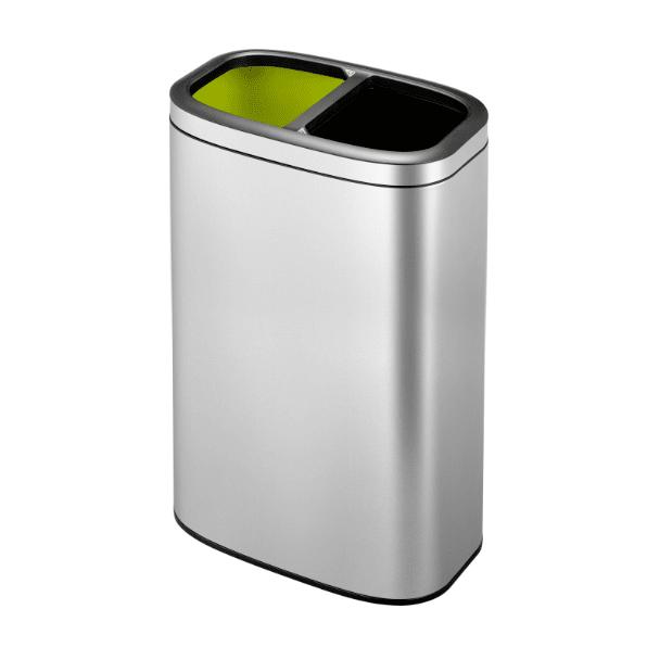 Кош за разделно събиране на отпадъци EKO OLI-CUBE отворен (2 х 20 л) - хром мат