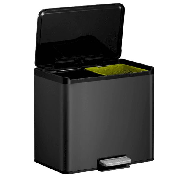 Кош за разделно събиране на отпадъци EKO ESSENTIAL с педал (2 х 15 л) - черен