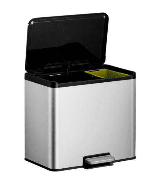 Кош за разделно събиране на отпадъци EKO ESSENTIAL с педал (20 + 9 л) - инокс с черно