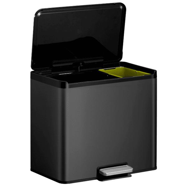 Кош за разделно събиране на отпадъци EKO ESSENTIAL с педал (20 + 9 л) - черен