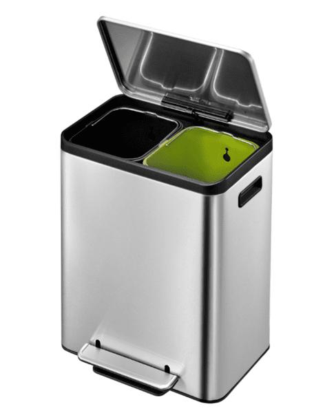 Кош за разделно събиране на отпадъци EKO ECOCASA с педал (2 х 12 л) - хром мат