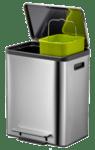 """EKO EUROPE Кош за разделно събиране на отпадъци с педал """"ECO CASA"""" - матиран - 2 х 12 л."""