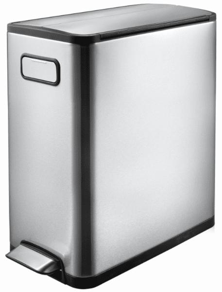 Кош за отпадъци EKO ECOFLY с педал (30 л) - хром мат с черно