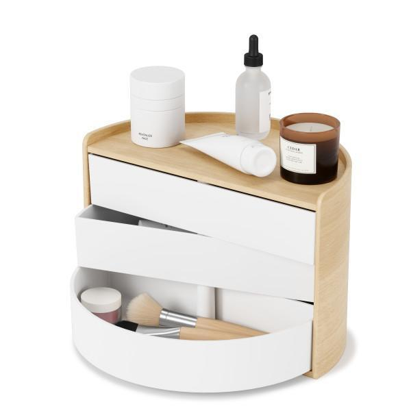 Кутия за бижута и аксесоари UMBRA MOONA - цвят бял с дървесен фладер