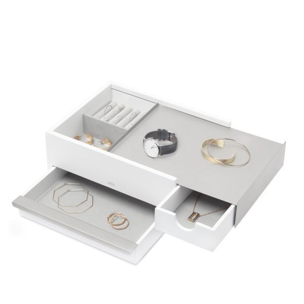 Кутия за бижута и аксесоари UMBRA STOWIT - цвят бяло с никел