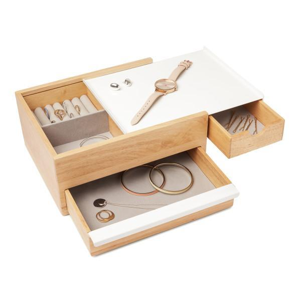 Кутия за бижута и аксесоари UMBRA STOWIT - цвят бяло с натурално дърво
