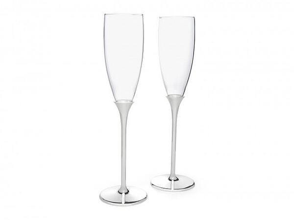 Подаръчен сет чаши за шампанско ZILVERSTAD SMOOTH със сребърно покритие - 2 бр.