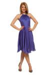 Разкроена копринена рокля с панделка
