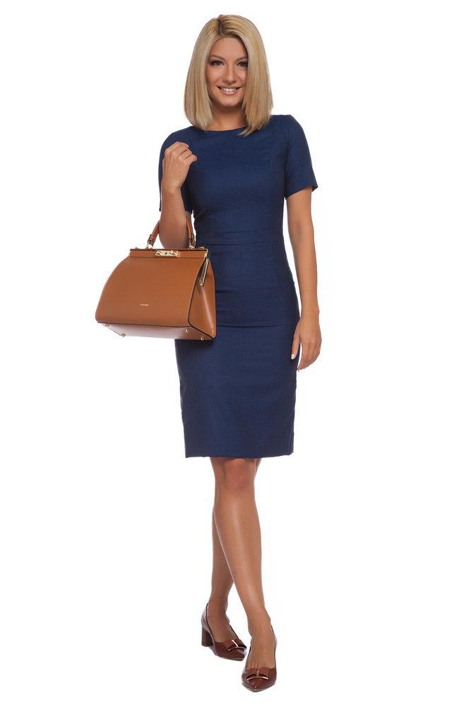 Вталена синя рокля