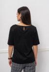 Чернa блуза от мерсеризиран памук