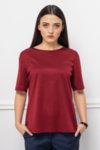 Червенa блуза от мерсеризиран памук