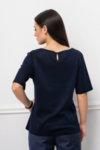 Тъмносиня блуза от мерсеризиран памук