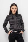 Черна блуза с панделка