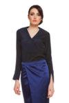 Черна копринена блуза