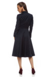 Разкроена тъмносиня рокля с колан