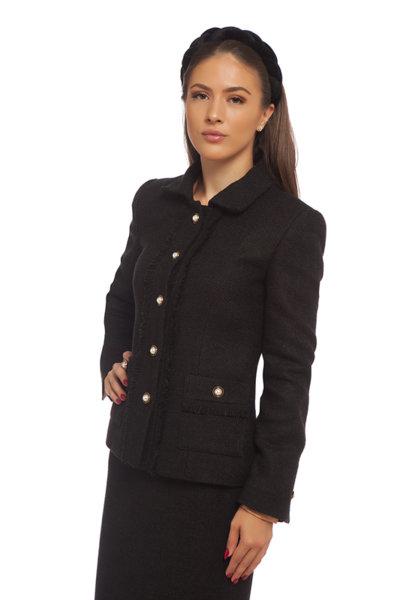 Късо сако от черно букле