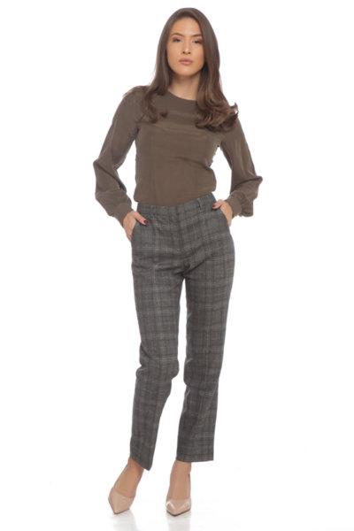 Панталон каки с прилепнал силует