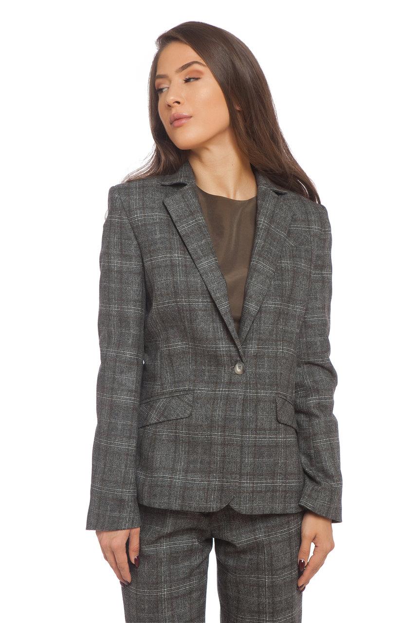 Класическо карирано сако с каки нишка