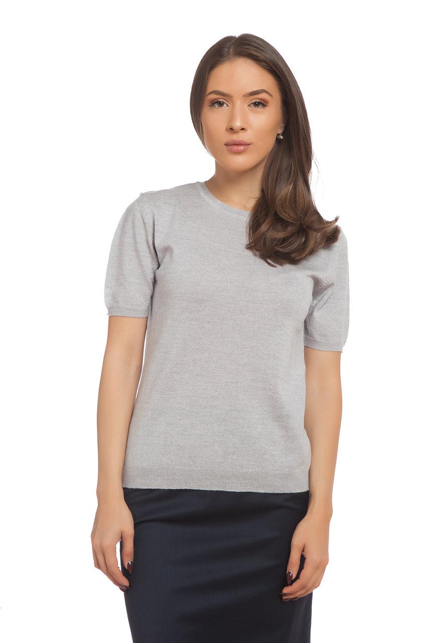 Сива блуза с къс ръкав