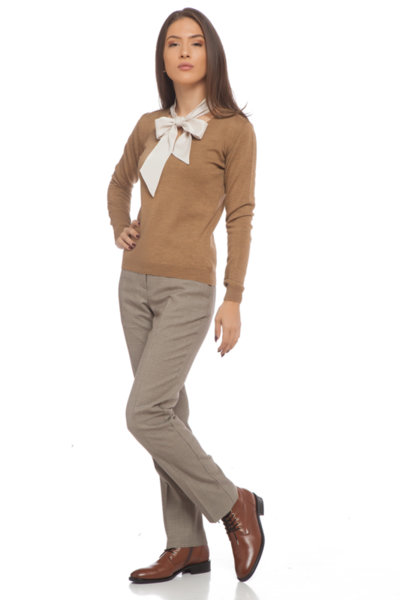 Класически панталон  бежово-кафяв пепит