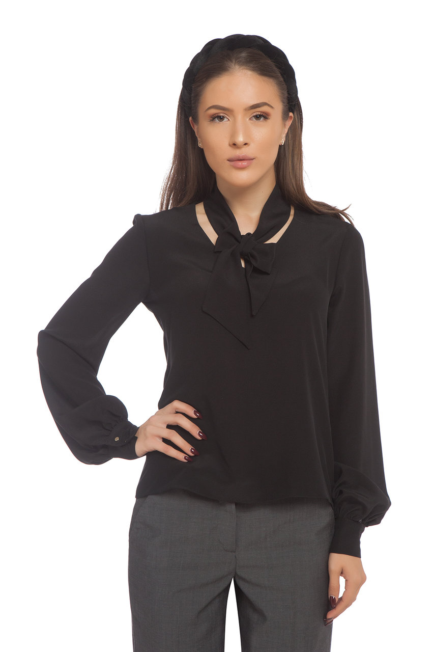 Черна копринена блуза с подвижна панделка
