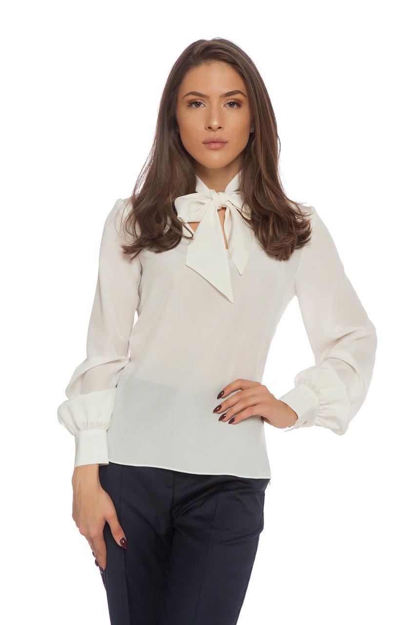 Копринена блуза екрю с подвижна панделка