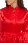 Ефирна червена копринена рокля