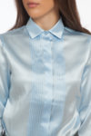 Светлосиня копринена риза