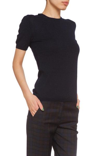 Тъмносиня блуза с къс ръкав
