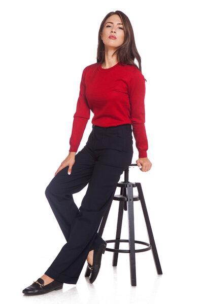 Червена блуза с дълъг ръкав
