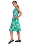 Разкроена зелена рокля на цветя
