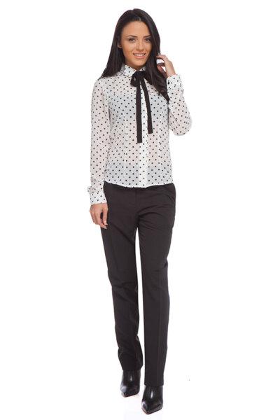 Черен класически панталон от жоржет