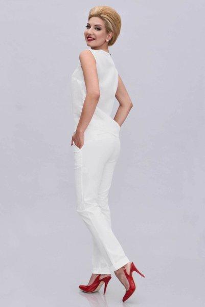Бял памучен панталон