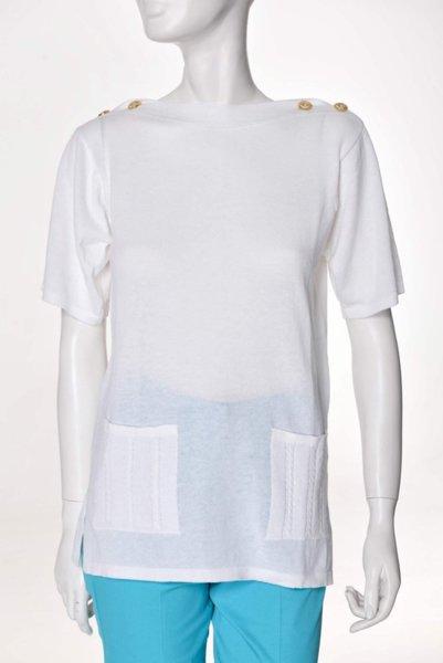 Бяла блуза с джоб