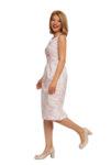Бяло и фуксия рокля с отворено V деколте