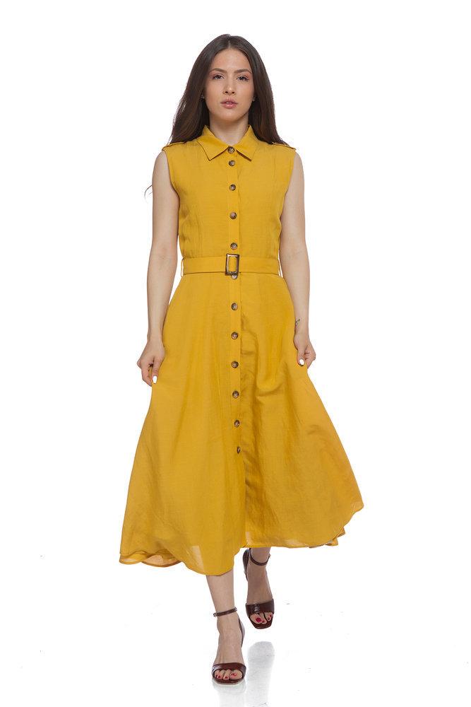 Жълта ленена рокля