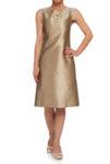 Златна копринена рокля с А силует