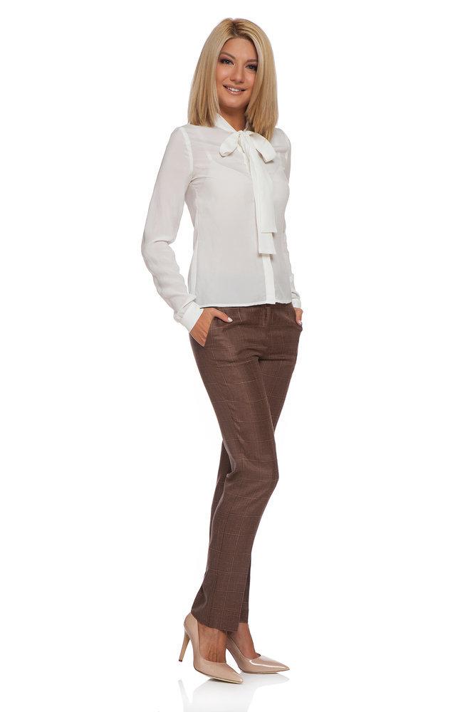 Кариран кафяв панталон