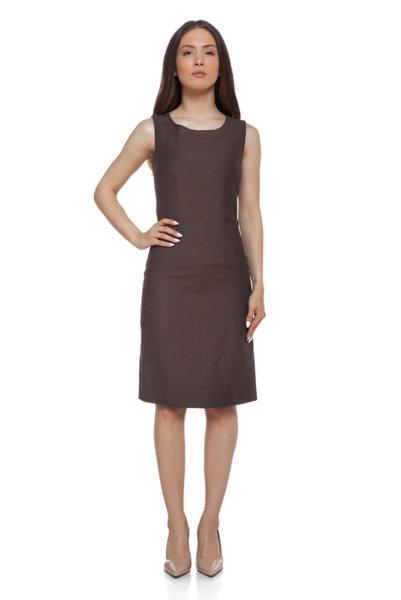 Кафява ленена рокля