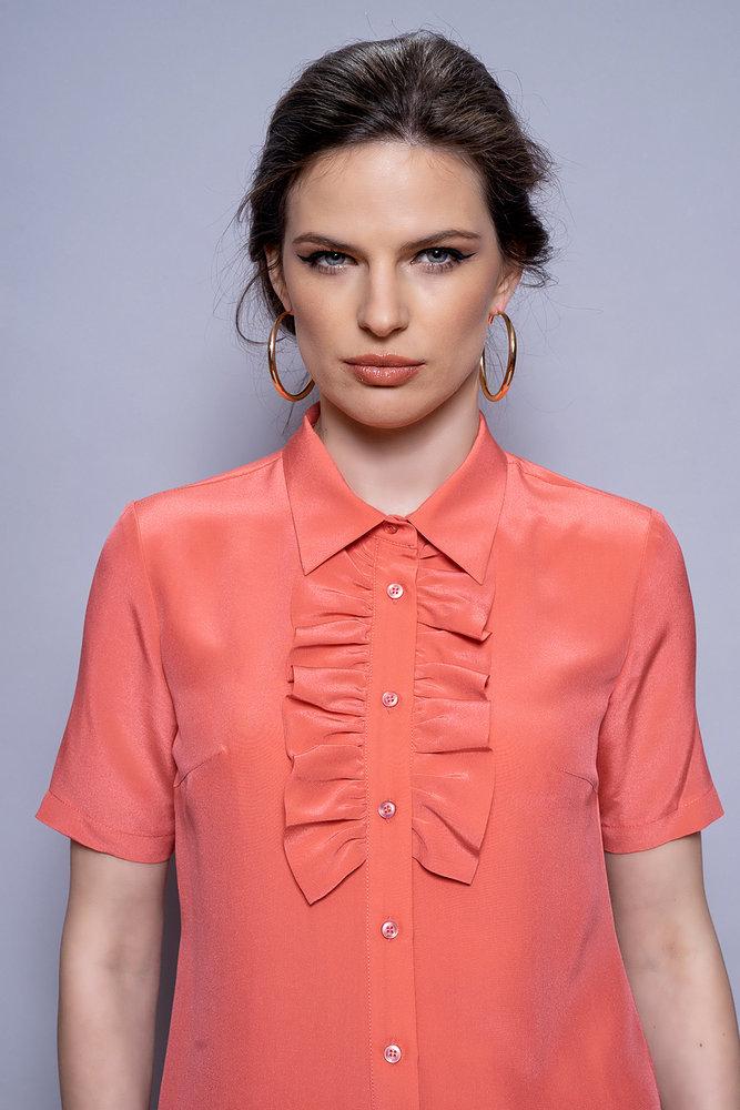 Коралова копринена риза с къдрица