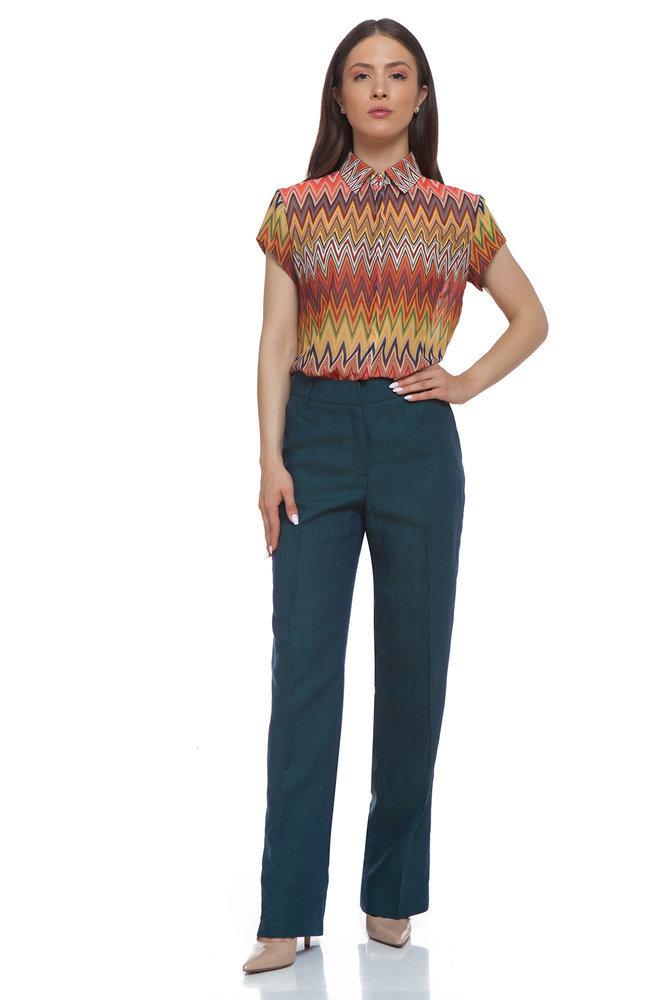 Ленен синьо-зелен панталон