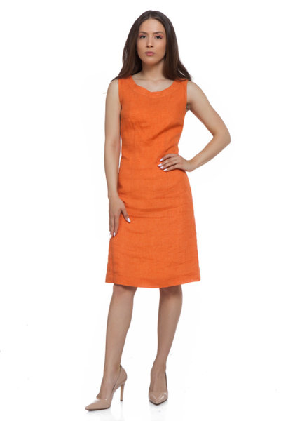 Оранжева ленена рокля